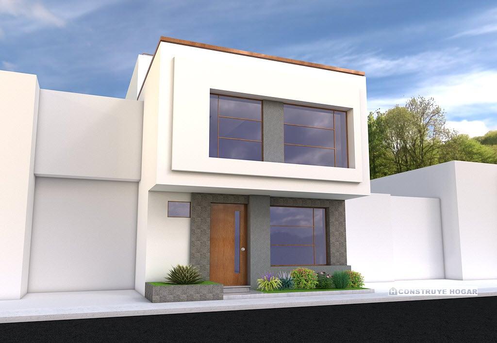 Idea para construir casa en lote peque o construye hogar for Casa moderna rectangular