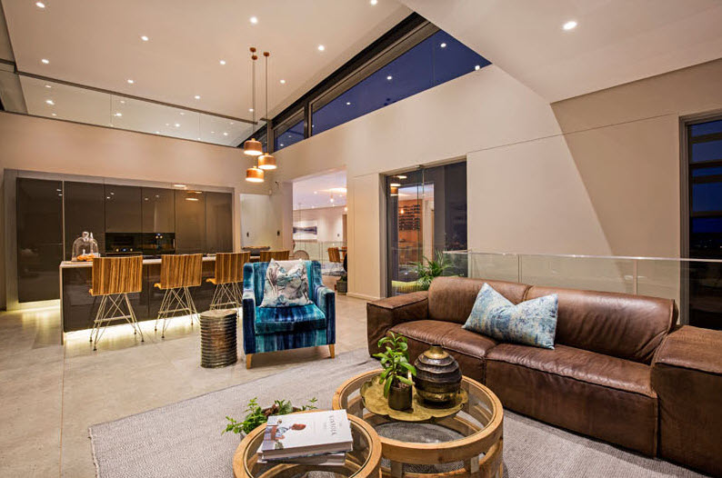 Diseño de sala y cocina isla moderna