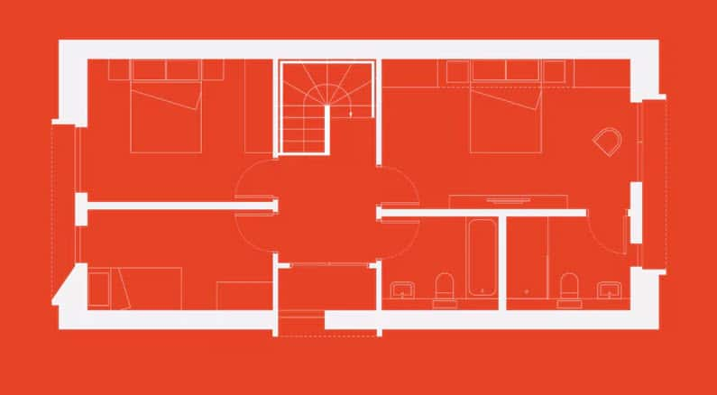 Plano casa pequeña dos pisos tres dormitorios