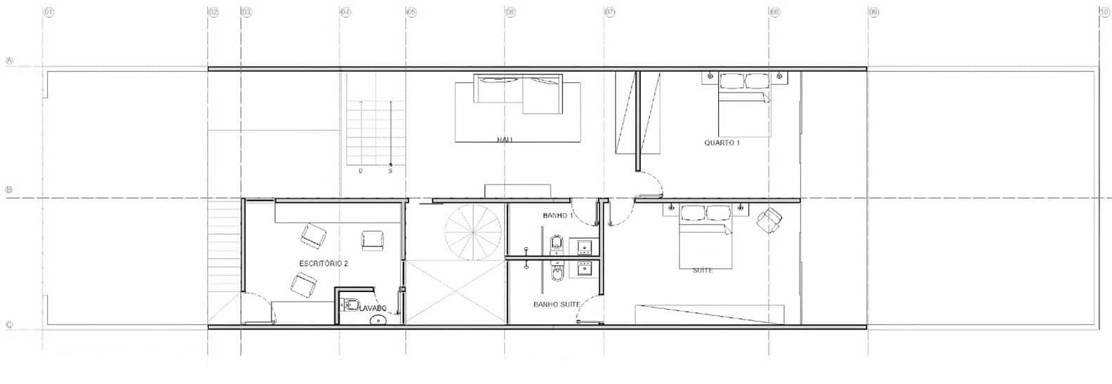 Plano de segundo piso de casa pequeña