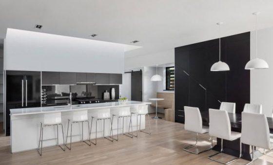 Diseño de cocina comedor blanco y negro