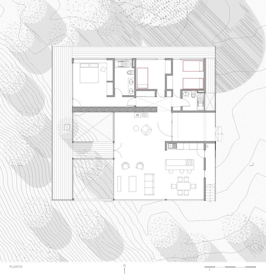 Plano de casa de campo tres dormitorios - terreno cuadrado