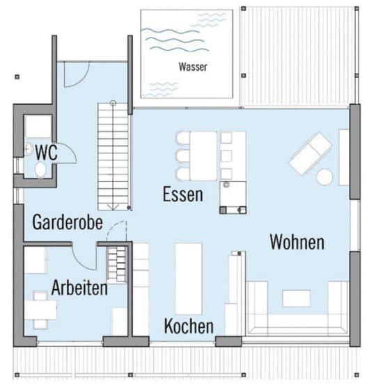 Plano de casa dos pisos forma cuadrada