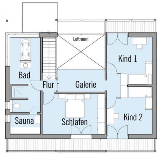 Plano de casa dos pisos tres dormitorios