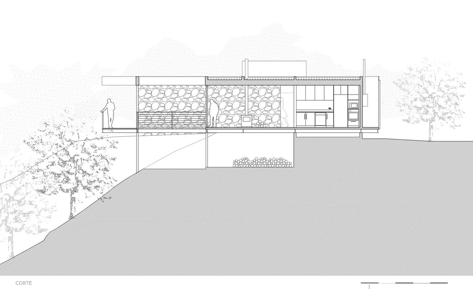 Plano de corte casa de campo construida en desnivel