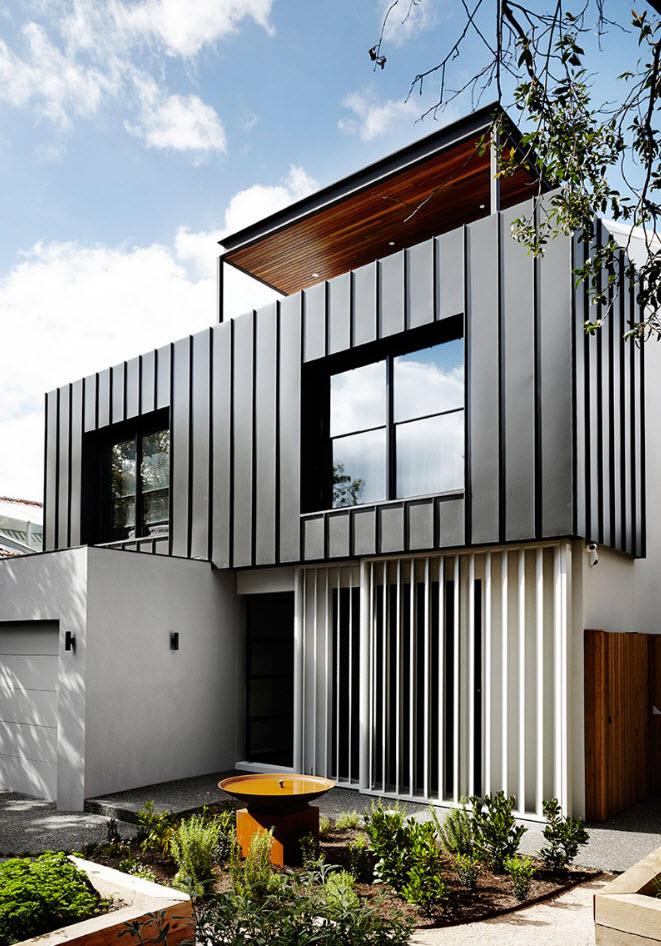 Fachada casa pequeña moderna dos pisos