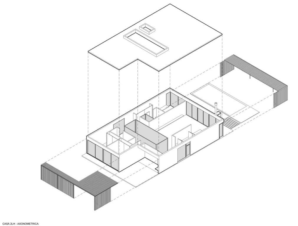Plano axonométrico casa un piso