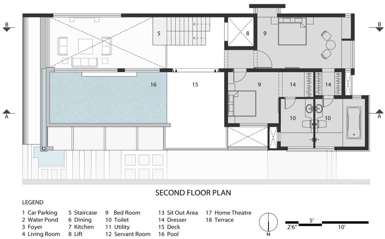 Plano de casa dos pisos 2 nivel