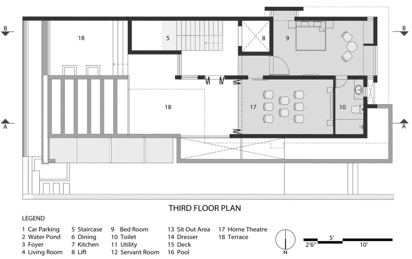 Plano de casa dos pisos III nivel