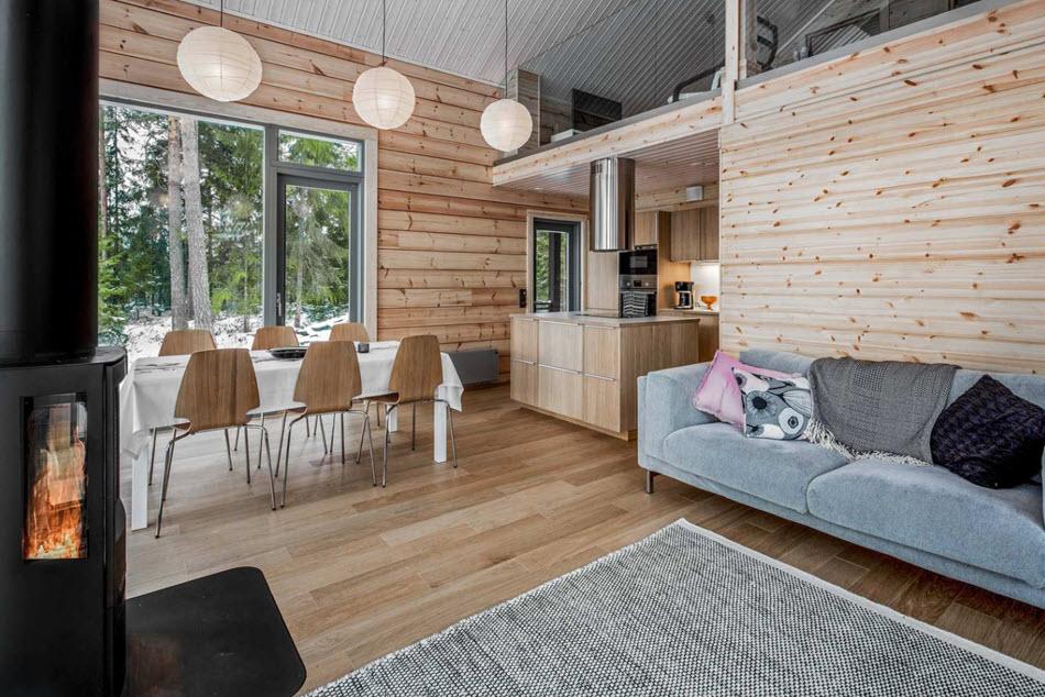 Diseño de interiores madera casa de campo sala, comedor y cocina
