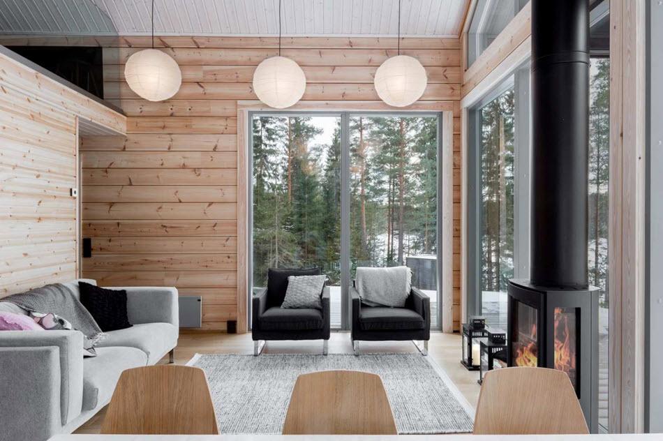 Diseño de sala casa campo calentada con energía geotérmica