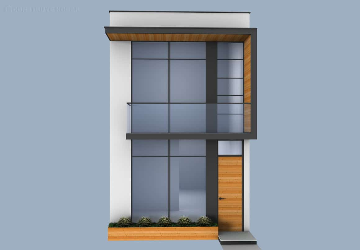 Fachada casa moderna de dos pisos