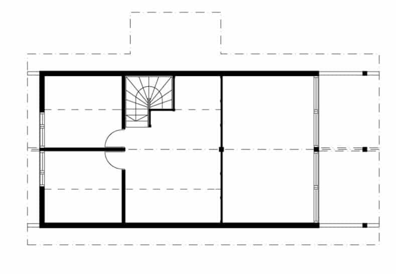 Plano casa de campo con entrepiso