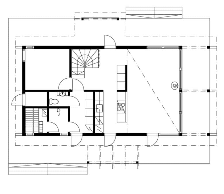 Plano casa de campo pequeña con entrepiso