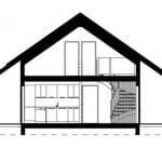 Plano corte casa de campo