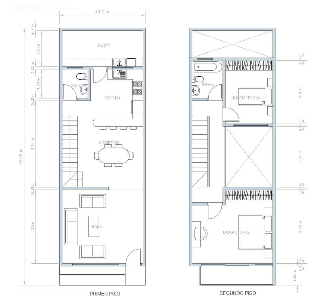 Planos de casa pequeña de dos pisos