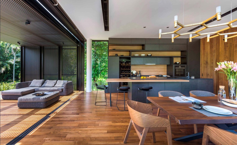 Diseño interiores de sala comedor y cocina