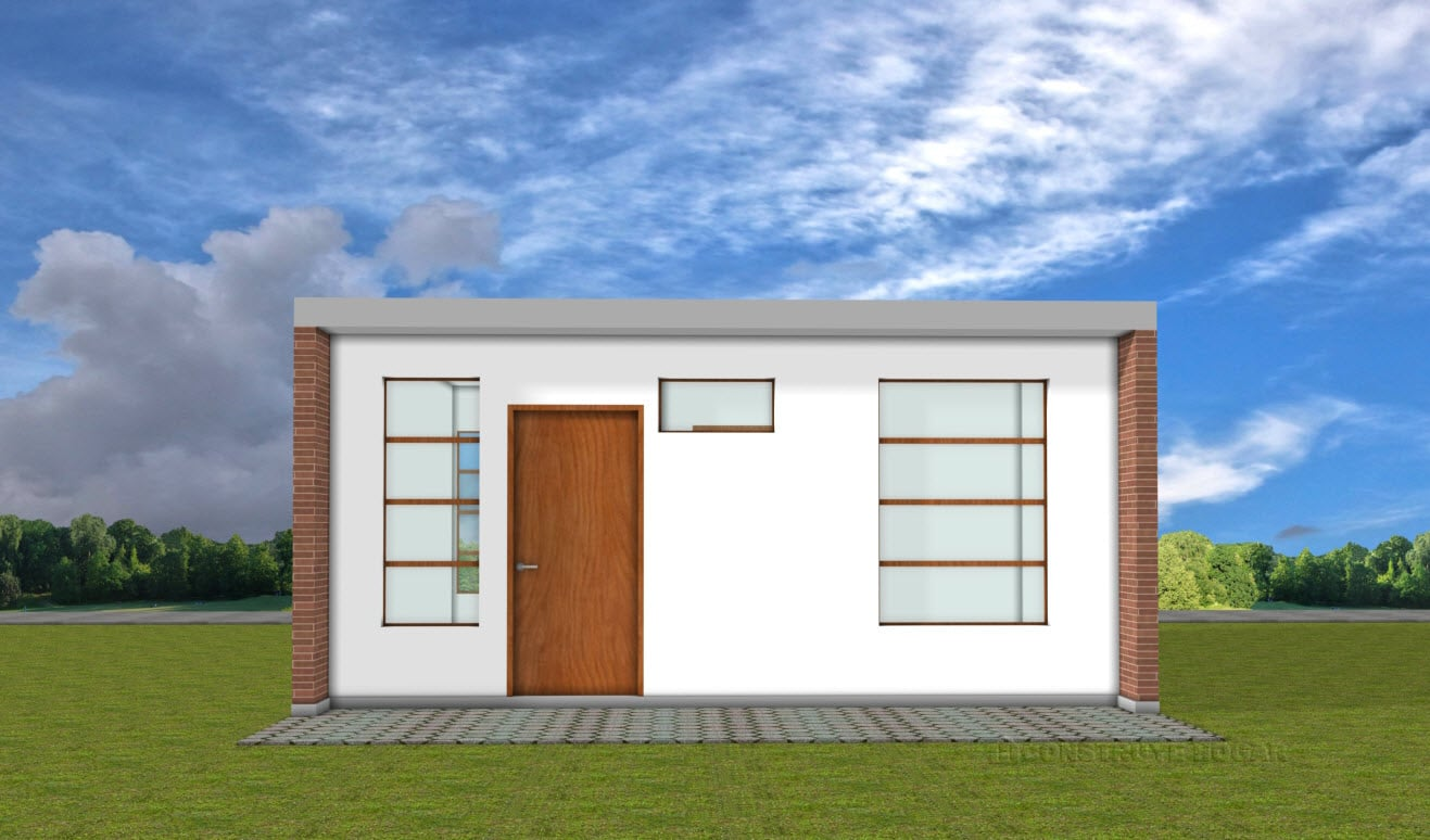 Planos de casa peque a de 42 metros cuadrados construye for Modelo de fachadas de viviendas