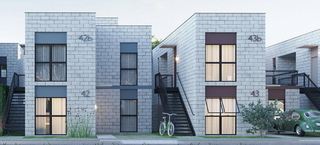 Fachada casa económica ladrillos concreto