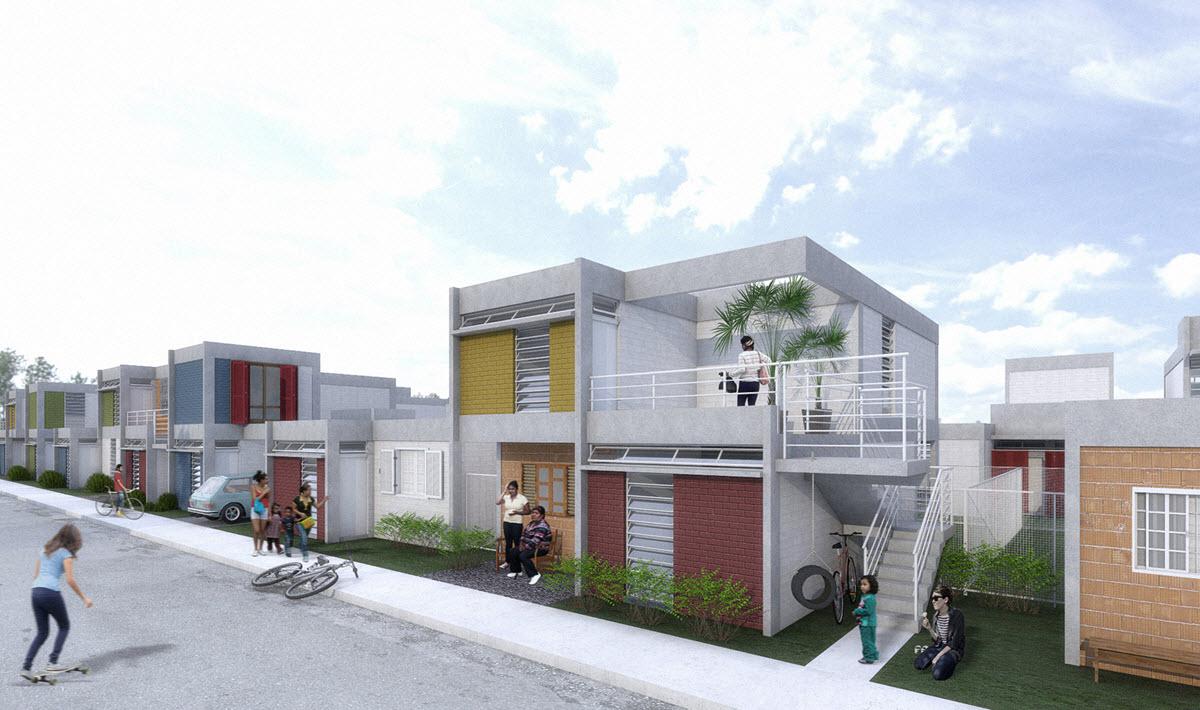 Modernas fachadas de casas económicas