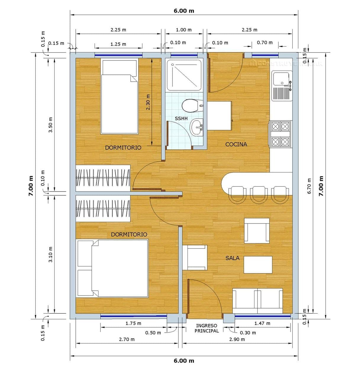 Planos de casa peque a de 42 metros cuadrados construye for Casas en ele planos
