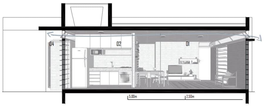 Plano de corte casa para ventilación cruzada
