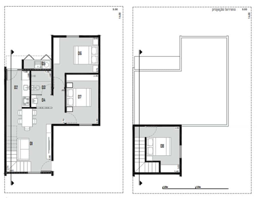Planos de casa terreno pequeño
