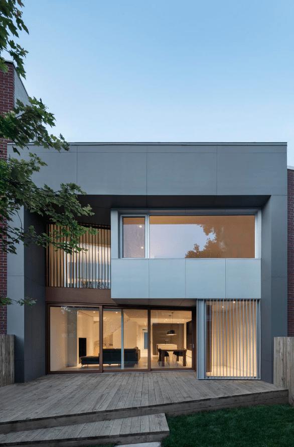 Diseño de fachada vanguardista de dos pisos