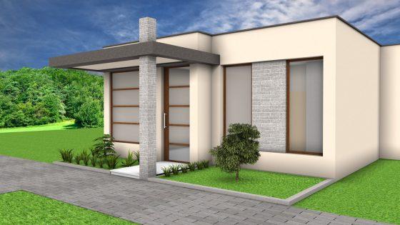 Diseño fachada casa moderna pequeña