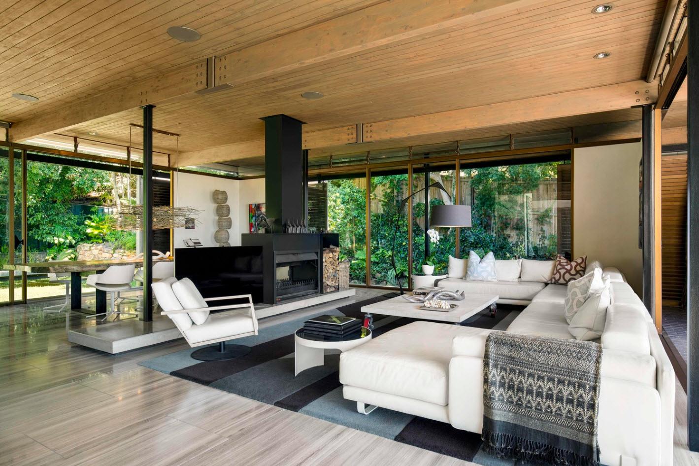 Diseño de sala moderna casa de campo