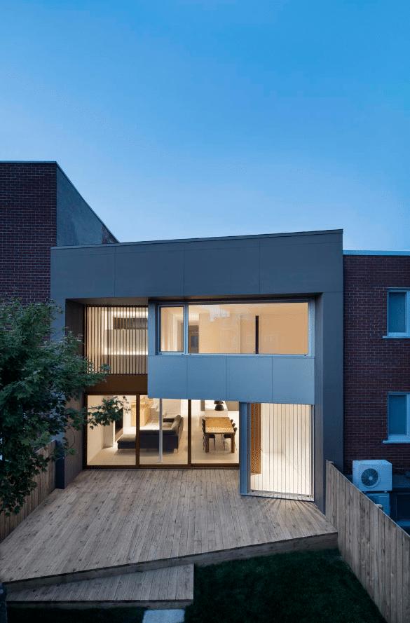 Fachada de casa moderna de dos pisos moderna