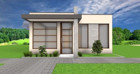 Fachada frontal casa moderna de un piso