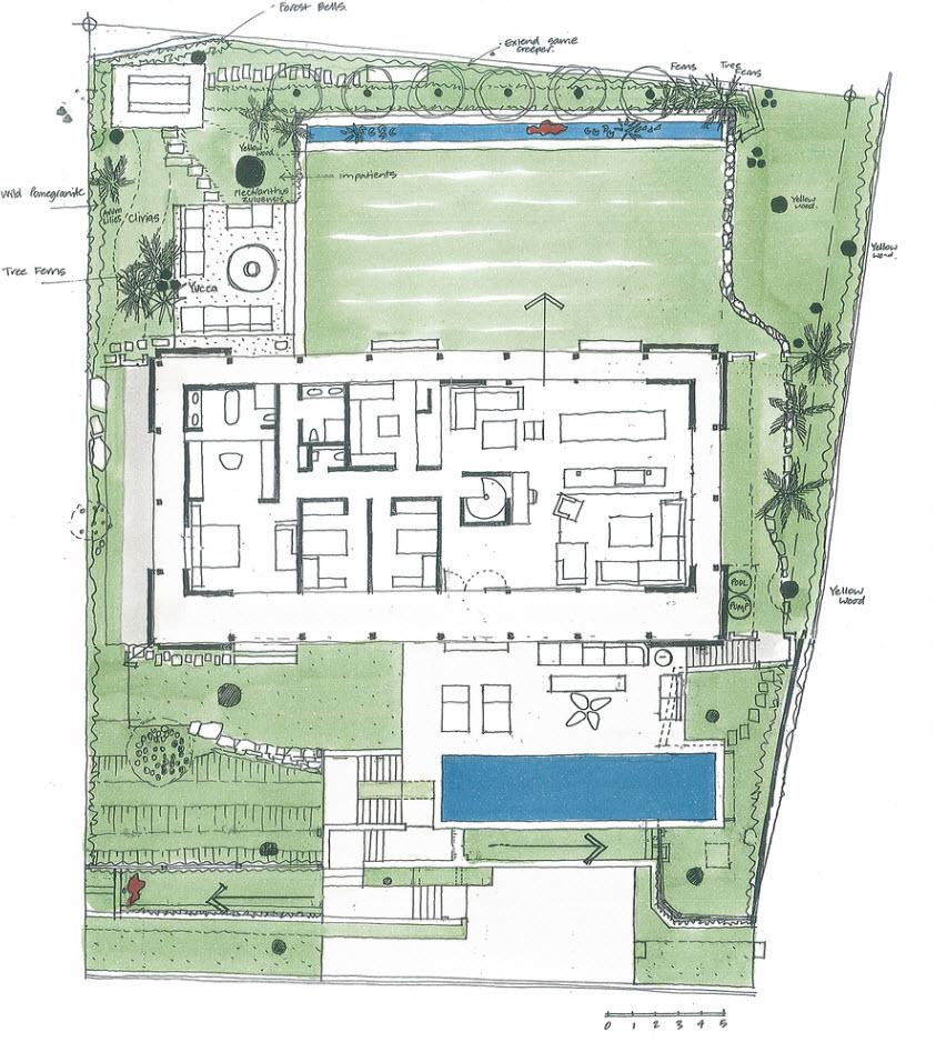 Gráfico de plano casa de campo grande