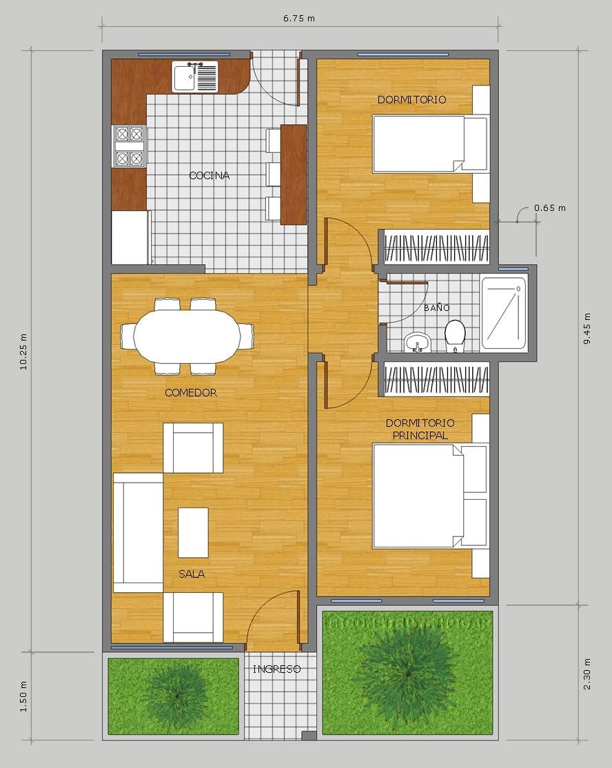 Plano casa un piso terreno pequeño