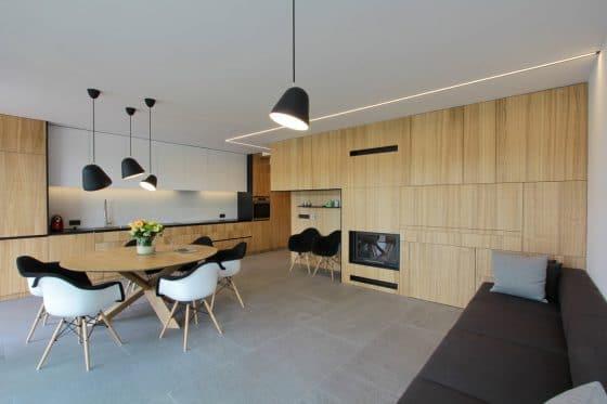 Diseño sala moderna revestimiento madera