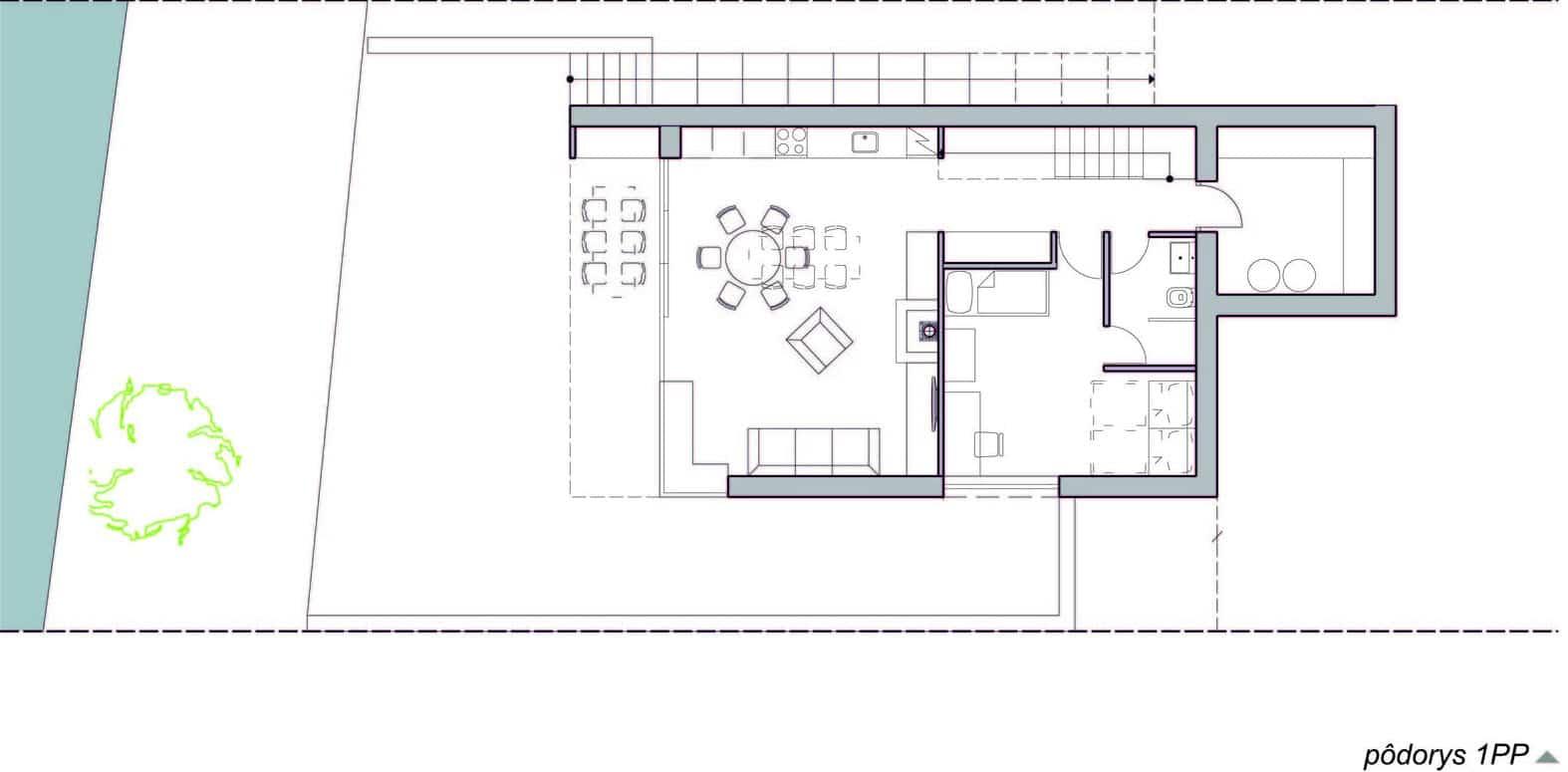 Dise o de casa de campo peque a con moderna estructura de for Planos para casas pequenas