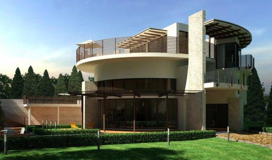Casa moderna circular de dos pisos