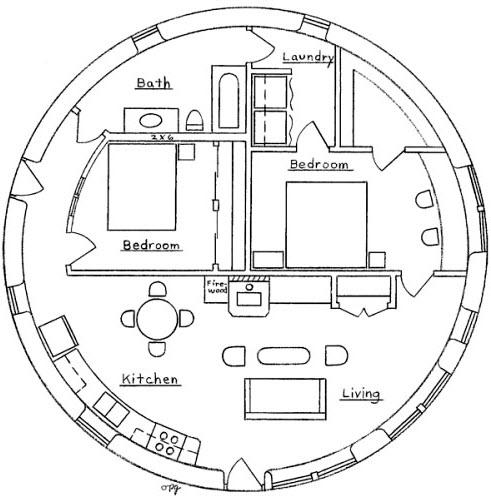 Casa pequeña circular de dos dormitorios