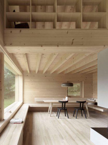 Diseño de interiores madera casa campestre