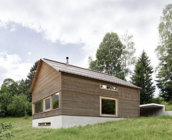 Diseño de fachada casa campo construida madera