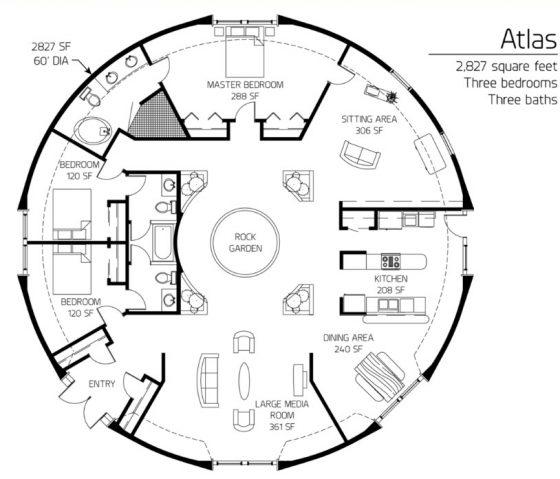 Plano casa circular gran diámetro