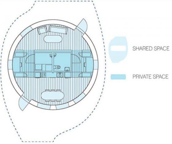 Plano casa ecológica circular con paneles solares