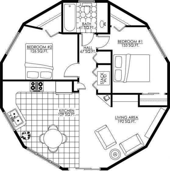Plano de casa circular dos dormitorios