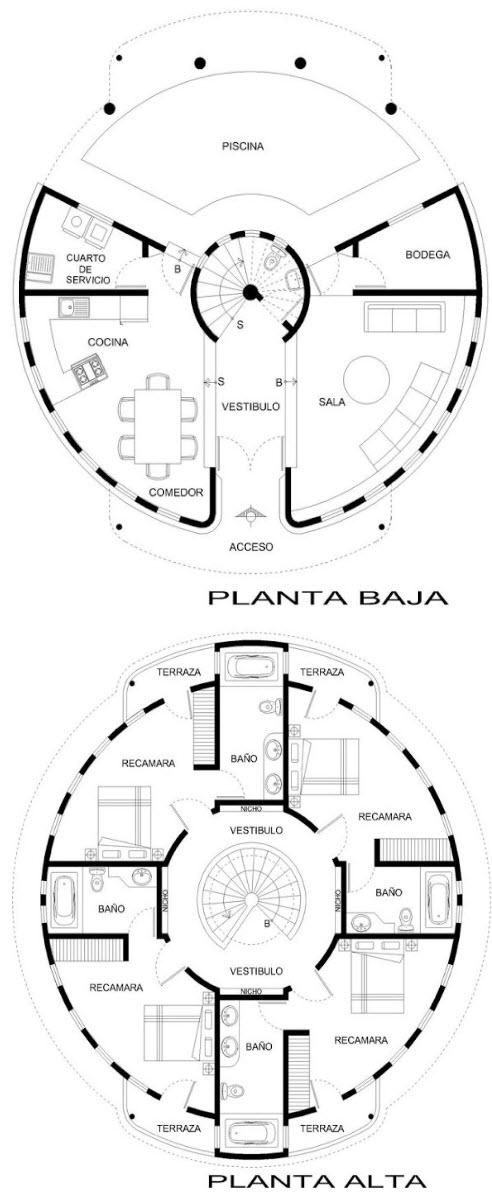Plano casa circulo dos pisos