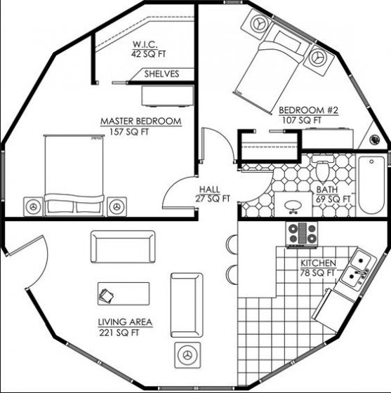 Plano casa terreno circular