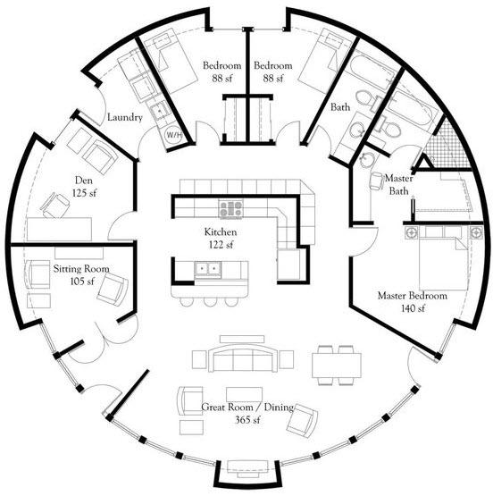 Terreno circular grande tres dormitorios