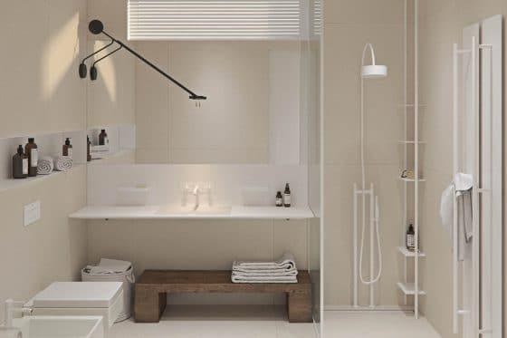 Baño combina estilo moderno y rústico
