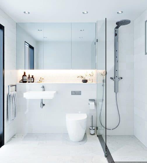 Diseño cuarto de baño minimalista blanco