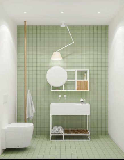Cuarto de baño minimalista verde agua