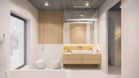 Cuarto de baño moderno grande